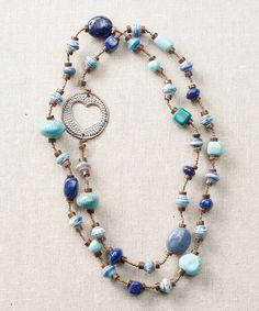 Another great find on #zulily! Blue & Cobalt Bead Necklace by Grateful Heart #zulilyfinds