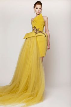 Azzi & Osta Couture SS 2015, Mustard Sculptural Silk Long Crepe and Tulle Dress with Antique Gold Embellishment