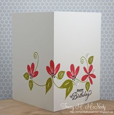 Tracy McNeely started by stamping the card and continued the pattern on the front of the card around to the back.