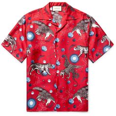 Gucci Space Animals Camp-Collar Printed Silk-Twill Shirt ($1,050) ❤ liked on Polyvore featuring men's fashion, men's clothing, men's shirts, men's casual shirts, shirts, mens shirts and gucci mens shirts