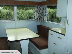 1957 retro caravan interior- yellow formica, fringed rollerblinds, barkcloth curtains