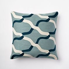 Chain Crewel Pillow Cover - Dusty Blue #westelm  These pillows with that denim pouf