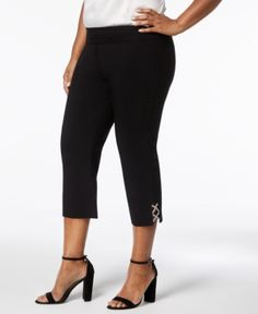 Jm Collection Plus Size Rhinestone-Strap Capri Pants, Created for Macy's - Black 1X