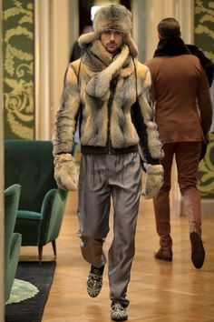 Man in Fur Jacket and with Fur Hat