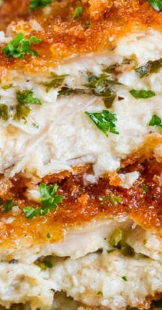 Garlic Butter Stuffed Chicken Breast (Just use GF panko bread crumbs to make it GF) Turkey Recipes, Meat Recipes, Dinner Recipes, Cooking Recipes, Dinner Ideas, Restaurant Recipes, Yummy Recipes, Honey Garlic Chicken, Garlic Butter