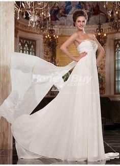 Sheath Beaded Strapless Court Wedding Dress 2013