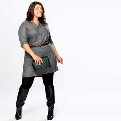 Vestido camisero tipo franela ajustable en la cintura                                                             GRIS Tallas grandes mujer