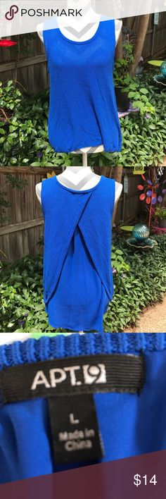 Royal blue sleeveless sweater Beautiful blue high low sweater with sheer blue lining. Sweater opens in the back to reveal the pretty lining. Very unique and comfortable. Great condition. Apt. 9 Sweaters