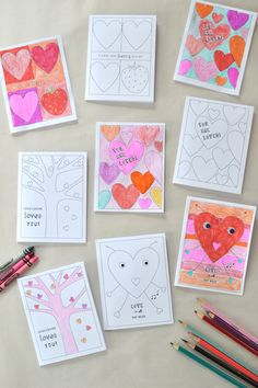 Children will adore these pages to color this Valentine's Day. These 10 free Valentine coloring pages include heart coloring pages, pictures coloring… Kinder Valentines, Valentines Gifts For Boyfriend, My Funny Valentine, Valentines Day Activities, Homemade Valentines, Valentines For Kids, Valentine Day Crafts, Holiday Crafts, Valentine Nails