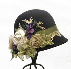 Women's 1920's Vintage Style Black Wool Felt Cloche Hat Romantic Heirloom Ribbon Work Handmade Flowered Hats.
