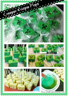 Minecraft style creeper rice krispie pops - super easy to dunk or paint, using fully cooled rice krispie squares, green candy melts, some lollipop sticks, and a black candy decorating pen (Wilton). Tips: Use a slow cooker to keep the melt temp on point, parchment paper to cool the pops for easy release, and you can even use pre-made boxed rice krispie treats to get a major head start. Super cute and an easy thing to send to school: Easy to transport, and no common allergen ingredients! :)
