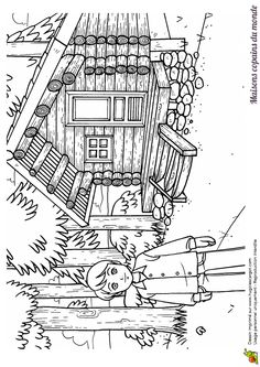 1000 images about dessins coloriages des pays du monde - Coloriage de cabane ...