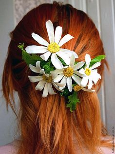 Barrette Daisies, cold porcelain, chamomile flowers hairpin, clay flowers, wedding accessories, prom, spring clip, spring jewelry