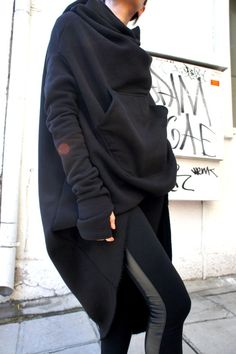 Black Extravarant Maxi Asymmetric Hoodie / Quilted by Aakasha, $95.00