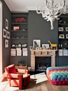 Slate gray walls and pops of color.