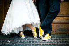 All star 😍👰🏼 Dress With Converse, Yellow Converse, Converse Wedding Shoes, Wedding Sneakers, Yellow Heels, Orange Shoes, Wedding Goals, Wedding Shoot, Boho Wedding