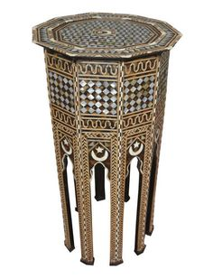 Moroccan Mother of Pearl Wood Coffee Side End Table Arabesque, End Tables, Pearls, Antiques, Wood, Furnitures, Moroccan, Home Decor, Colors