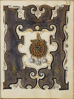 One of more than one hundred gouache sketches by Hans Mielich of seventy pieces of jewellery, the vast majority belonging to Duchess Anna of Bayern (1555)
