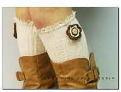 Crochet flower  over the knee cable knit  by CatherineColeStudio, $23.90