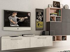 Sectional wall-mounted storage wall KYRA LIVING Kyra Collection by CREO Kitchens by Lube