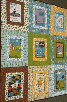 Lorax Organic Baby or Toddler Quilt by ModernMaterialGirl on Etsy, $158.00