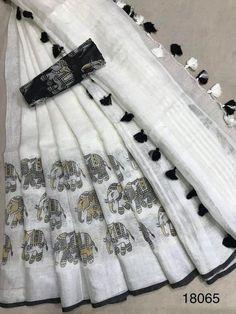 Linen saree Organic Linen by Linen sarees with zari Work and blouse piece Organic handwoven 100 count Linen saree Stitched blouse on request Linen Saree . Cotton Saree Blouse Designs, Fancy Blouse Designs, Blouse Patterns, Sari Bluse, Indische Sarees, Handloom Saree, Silk Sarees, Satin Saree, Sabyasachi Sarees