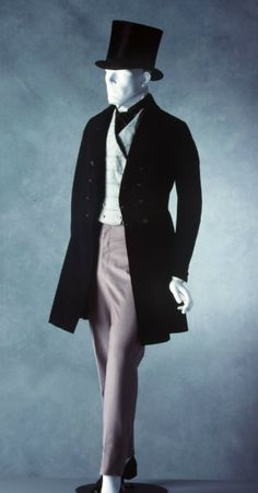 """The frock coat had a waist seam and the """"skirt"""" of the coat had varying amounts of fullness at different times. 1800s Fashion, 19th Century Fashion, Mens Fashion, Victorian Men, Victorian Fashion, Vintage Fashion, Mode Masculine, Historical Costume, Historical Clothing"""