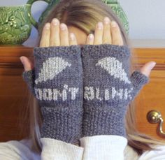 """Doctor Who Weeping Angels """"Don't Blink"""" Fingerless Gloves on Etsy, $26.79 AUD"""