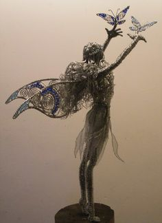 Fairy with 2 Butterflies Armature Sculpture, Wire Art Sculpture, Paper Mache Sculpture, Tree Sculpture, Abstract Sculpture, Wire Sculptures, Bronze Sculpture, Fantasy Wire, Fairy Figurines