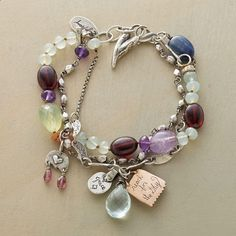 SERENDIPITY BRACELET--Happiness and sparkle to circle your wristgarnet, aquamarine, amethyst, sterling charms and more. By Jes MaHarry. USA. Exclusive. Approx. 7 to 8L.