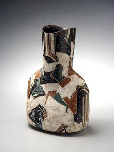 Wada Morihiro, escultura japonesa, cerámica japonesa, buque japonés, gres japonés, gres esmaltado japonesa, 1992