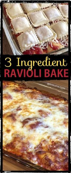 3 Ingredient Ravioli Bake (A. Lazy Lasagna) 3 Ingredient Ravioli Bake (A. Lazy Lasagna) On the lookout for simple dinner recipes for the household? This baked ravioli solely requires 3 co. Gourmet Recipes, Healthy Recipes, Cooking Recipes, Cooking Tv, Diet Recipes, Baby Recipes, Cooking Cake, Main Meal Recipes, Easy Fast Recipes