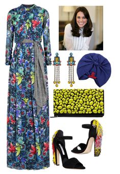 """Styling Kate Middleton on her world Tour"" by thestyleartisan ❤ liked on Polyvore featuring Matthew Williamson, Steffen Schraut, Brian Atwood, Mawi, Valentino, katemiddleton, duchessofcambridge and thedutchessofcambridge"