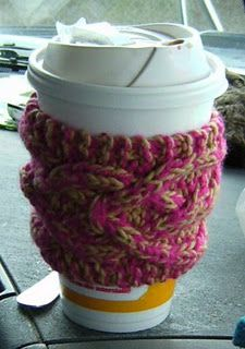 Knit Coffee Cozies!