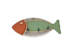 Keramiek Vega Ecuador, sleutelhanger vis, groen/bruin