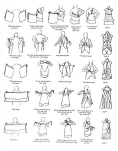 Instructions on different ways to wear a wrap skirt.