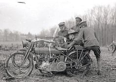 Harley Davidson with a mounted machine gun, WWI