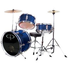 GP Percussion GP50BL Complete Junior Drum Set (Blue, 3-Piece Set) by GP Percussion. $154.41. Black, ported drum head on 16 IN x 11 IN, 6-Lug, Bass Drum. 10 IN x 6 IN, 5-Lug Tom-Tom with Holder. 10 IN x 5 IN, 5-Lug, snare with stand. 10 IN Cymbal with Holder. Junior Hi-Hat Cymbal with stand. Bass Drum Pedal. Junior Drummer's Throne. Drum Key. Drum Sticks.  Assembly Required, Instructions Included. No additional tools necessary. Overall Size: 36 IN L x 36 IN W x 36 IN H...