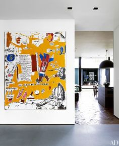 Alex Rodriguez gave Jean-Michel Basquiat's 1984 painting M. pride of place in the entry's gallery hall. Basquiat Paintings, Modern Art, Contemporary Art, Art Decor, Decoration, Jean Michel Basquiat, Painting Inspiration, Creative Art, Home Art