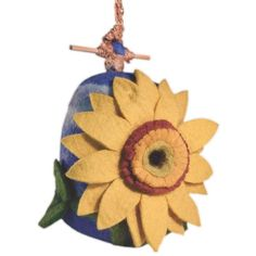 This hand-felted wool birdhouse is made of sustainably harvested, naturally water repellent wool. Wool is also naturally dirt and mold resistant. Felt Birdhouse Sunflower by Custom Made. Wind Sculptures, Wool Felt, Felted Wool, Small Birds, Handmade Felt, Handmade Design, Wild Birds, Fair Trade, Blue Bird