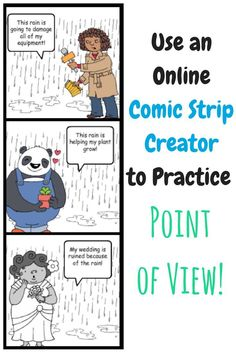 Use an online comic strip creator to practice point of view with your grade, grade, or grade students. Easy to use and free! This is a great way to integrate technology into your lessons while keeping your upper elementary school students engaged! Library Lessons, Reading Lessons, Reading Activities, Reading Skills, Teaching Reading, Reading Strategies, Guided Reading, Math Lessons, Physical Activities