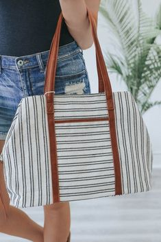 bb240bbdfb23 Striped Canvas Weekender Bag - UOIOnline.com Canvas Weekender Bag