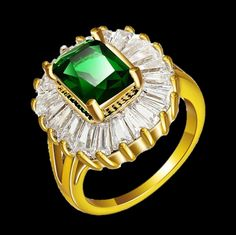 Luxury Green CZ Diamond Gold Plated Ring