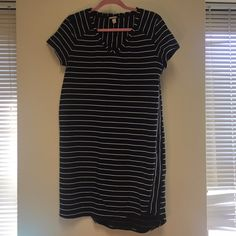 Striped black and white XL Dress NWOT super cute dress by Merona - very comfy material and perfect for summer! Merona Dresses Midi