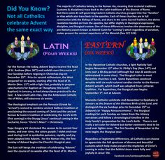 Advent in the Western and Eastern Catholic churches.