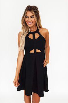 Black Halter Cut-Out Dress - Dottie Couture Boutique