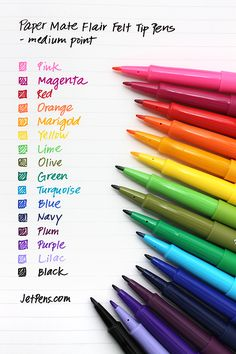 Paper Mate Flair Felt Tip Pens - Medium Point. Writing these is a pleasure. The facts that they are inexpensive and easily found at Target make them even better.