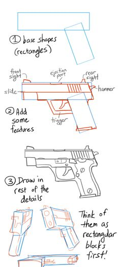 costumecommunityservice: nargyle: Anonymous asked you: How did u get so good at drawing guns, and how long have u been drawing them? Thank you for the compliment! I wouldn't call myself an expert on the matter yet, but drawing guns is actually not as difficult as most people would think-I threw together a little how-to that more or less illustrates my thought process when tackling guns (semi-automatic pistols, sorry). This is just bare bones information however, for there are many different…