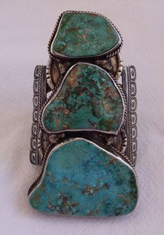 Huge-MUSEUM-QUALITY-Vintage-NAVAJO-Sterling-Silver-TURQUOISE-Cuff-BRACELET-187g