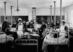 RECOVERING: A Ward in the American Hospital in France Following World War I Patients and medical personnel in Ward #4, Annex #7 in the American Hospital in Blois, France after World War I.
